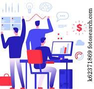 Multitasking manager. Businessman in different business action solving urgent tasks. Project management vector concept