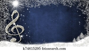 Christmas musical card, treble clef and fir trees silver glitter