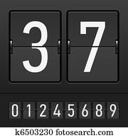 Figures on a mechanical scoreboard