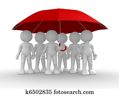 Group of people under the umbrella