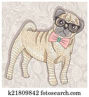 Hipster pug with glasses