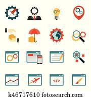 Internet marketing flat icons set