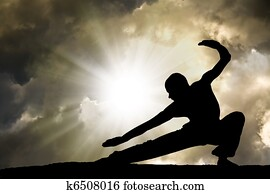Man Practises Martial Arts Background