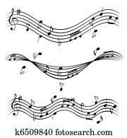 musik merkt, auf, notenlinien