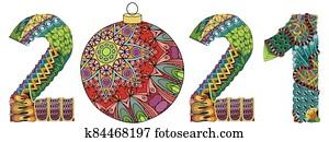 Number 2021 with a Christmas ball Zentangle. Vector decorative object