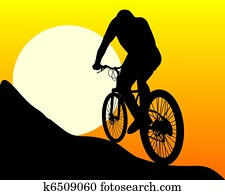 silhouette of a mountain biker