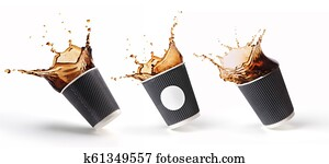 splashes of coffee in a paper cupt
