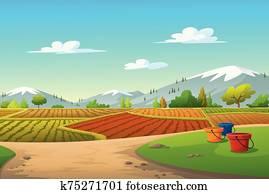 Vector illustration mountains, trees, cornfield,