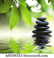 Zen stones pyramid on water surface