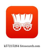 Ancient western covered wagon icon digital red