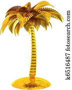 Golden palm tree island stylized
