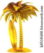 Golden surf board palm tree island