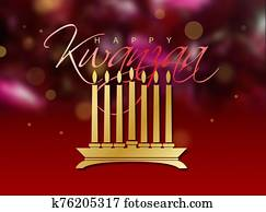 Kwanzaa holiday celebration graphic background in soft glowing reds and gold