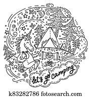 Lets go camping unicorn