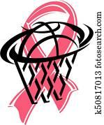 pink cancer ribbon and basketball