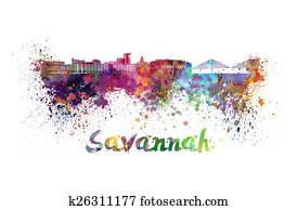 Savannah skyline in watercolor
