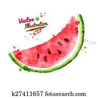 Watercolor watermelon.
