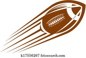 American football or rugby ball flying through the air