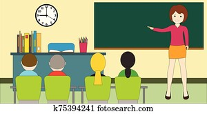Classroom with children. Teacher woman at the blackboard. Educational concept.