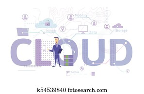 Cloud computing concept. Information technology. Vector illustration in flat style, isolated on white.