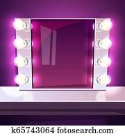 Makeup mirror lamp illuminated illustration