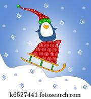 Penguin on sled