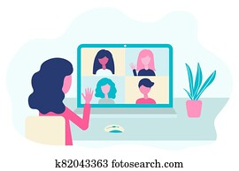 Video conference. People group on computer screen talking, virtual meeting. Online communication vector concept in flat design.