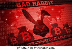 Bad Rabbit Ransomware Attack Malware Hacker Around The World Background