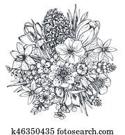 blumen-, composition., blumengebinde, mit, frühling, flowers.