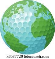 golf- kugel, welt globus, begriff