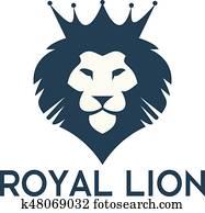 Lion head with crown vector logo design.