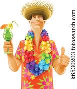 man cocktail hawaii wreath hat