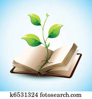 Plant Growing in Open Book