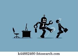 roboter, angestellter, tritte, weg, a, menschlich, arbeiter, von, machen, seine, edv, arbeit, an, büro.