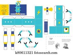 schneiden, und, klebstoff, roboter, spielzeug, vektor, abbildung