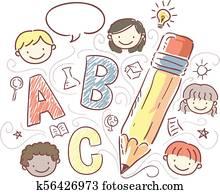 Stickman Kids Creative Writing Illustration