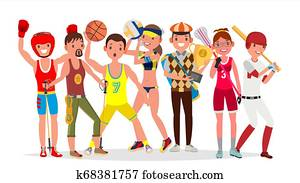 Summer Sports . Set Of Players In Boxing, Hiking, Basketball, Volleyball, Golf, Lacrosse, Baseball. Isolated On White Background Flat Cartoon Illustration