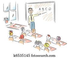 Vector classroom with teacher and school children