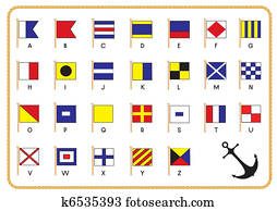 Vector signal nautical flags and anchor