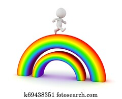 3D Character running on top of double rainbow