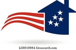 American Flag house logo. Vector graphic design
