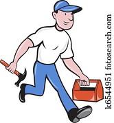 carpenter tradesman worker hammer and toolbox walking