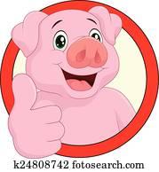 Cartoon pig mascot
