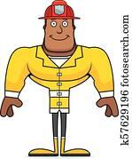 Cartoon Smiling Firefighter