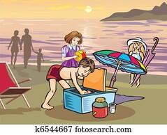 Children having picnic on beach