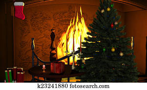 Christmas Tree with Gifts and Candles near Fireplace