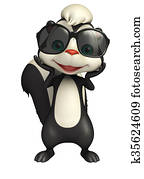 cute Skunk cartoon character with sunglass