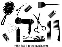 haar- art, schoenheit, element., vektor, salon