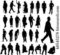 Lots of People Silhouettes