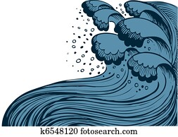 Storm in blue sea. Vector big waves on white background